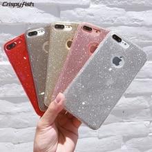 Crispyfish Glitter Sparkly TPU silikon kutu örtüsü Cilt Için iPhone 6 Için 6 s Saf Renk Parlak Durumlarda Telefonu 7 Artı X 5 5 ...