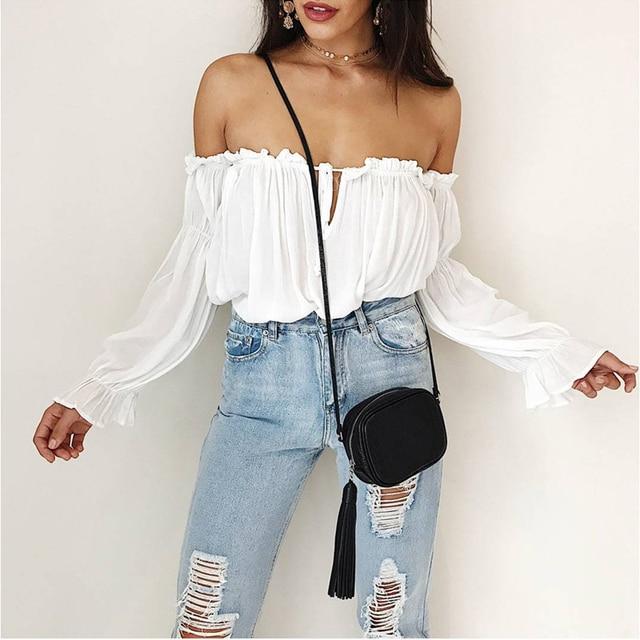 2018 blusas de Chifón con hombros descubiertos para mujer, blusas de manga larga, blusas blancas para mujer, blusas de playa de verano