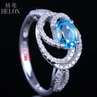 HELON безупречной овальной 7x5 мм голубой топаз драгоценный камень бриллианты кольцо стерлингового серебра 925 Свадебные Юбилей кольцо Мода юве