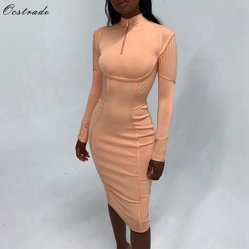 Ocstrade New Arrival 2019 Fall Orange Long Sleeve Bandage Dress Front Zip Women's Midi Bandage Dress Sexy Evening Party Dress