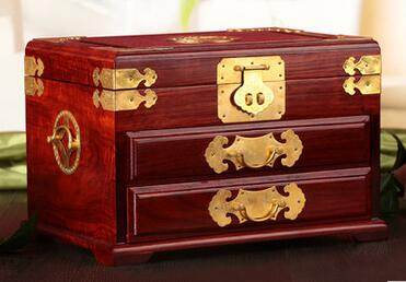 Well-liked large jewelry box Chinese ancient marriage treasure chest solid  NK54