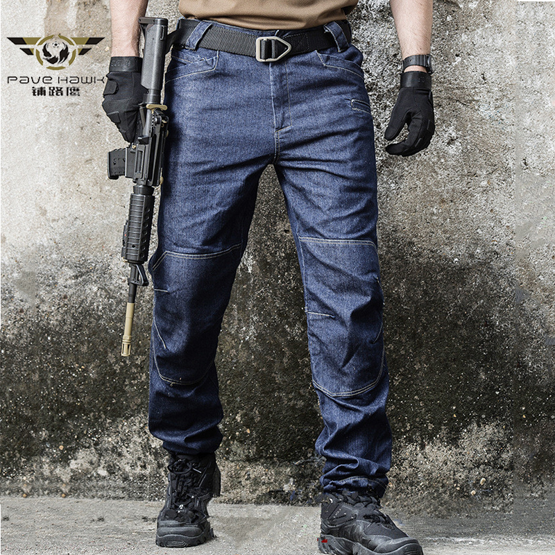 Army Combat Denim Jeans Men Wearable Special Force Flexible Military Jeans Tactical SWAT Multi Pocket Cotton Pants