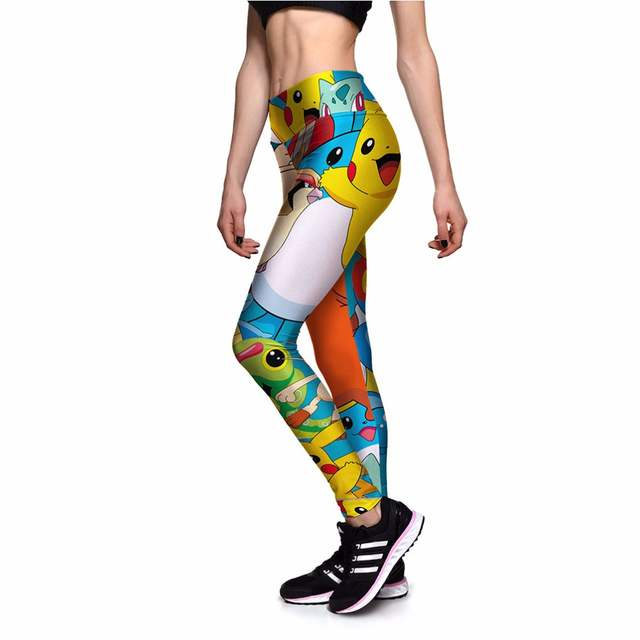 e641687bfa US $10.0 |New 0104 Sexy Girl Slim Pants Cute Pikachu Monster Prints High  Waist Workout Fitness Women Leggings Trousers Plus Size-in Leggings from ...