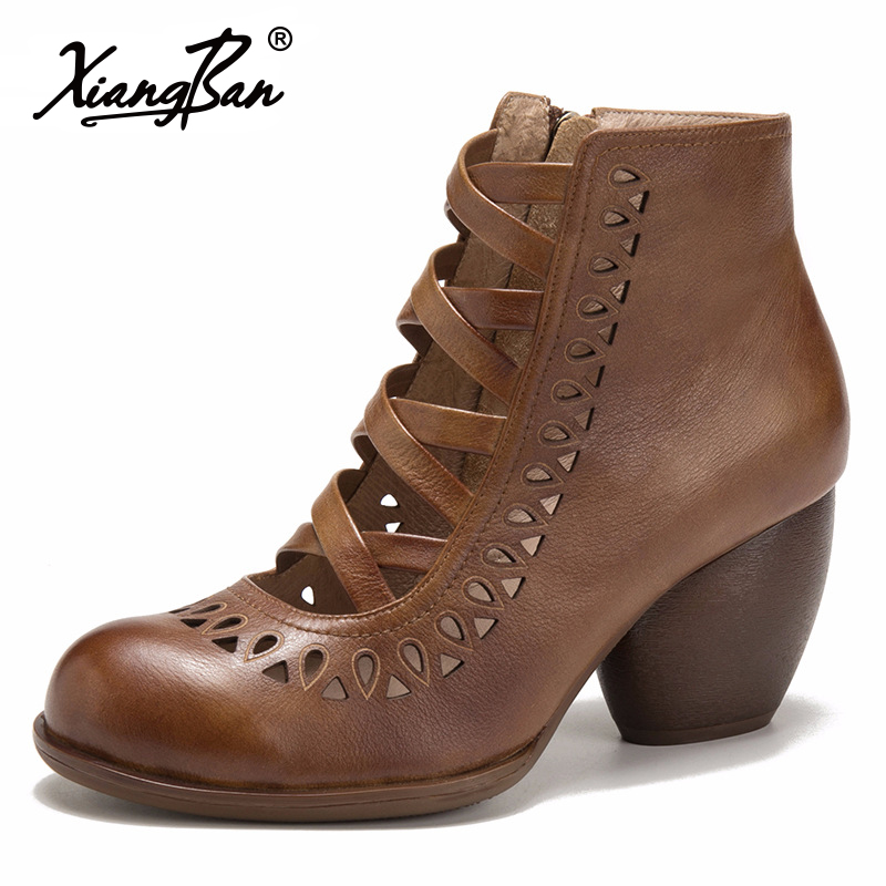 Original Womens Designer Shoes Hollowed Out High Heels Roman Ankle Boots Woman 2018 Spring Summer Autumn