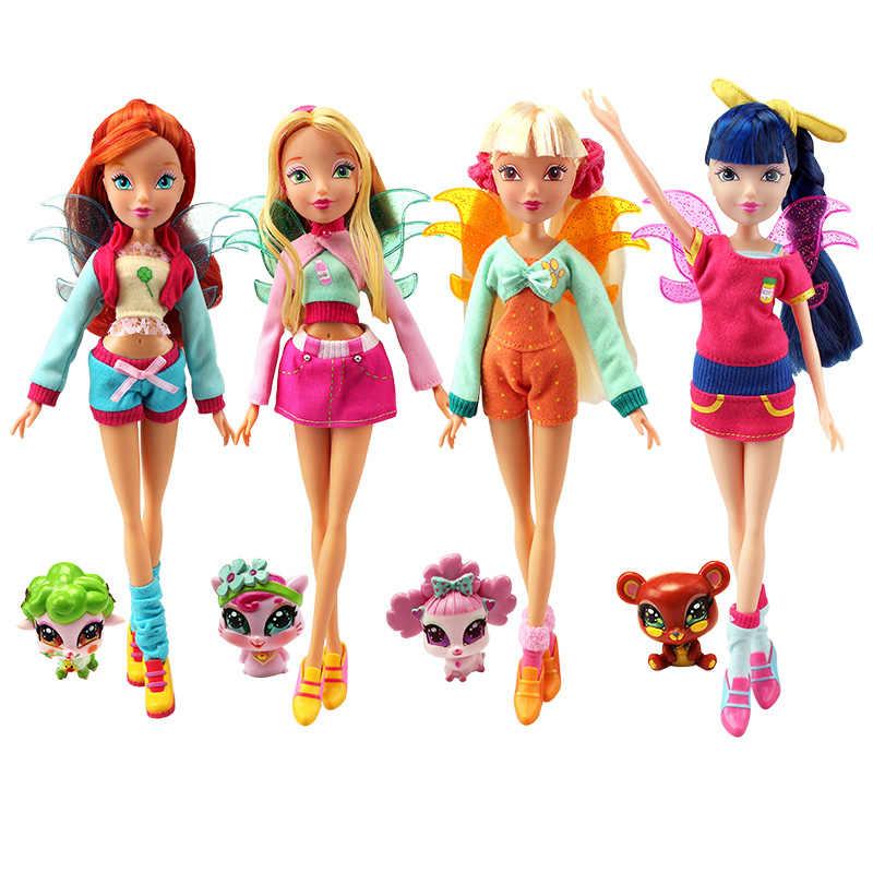 26 см Кукла Winx Club Радужная красочная девушка фигурки Фея Блум куклы с милыми домашними животными Классические игрушки для девочек подарок
