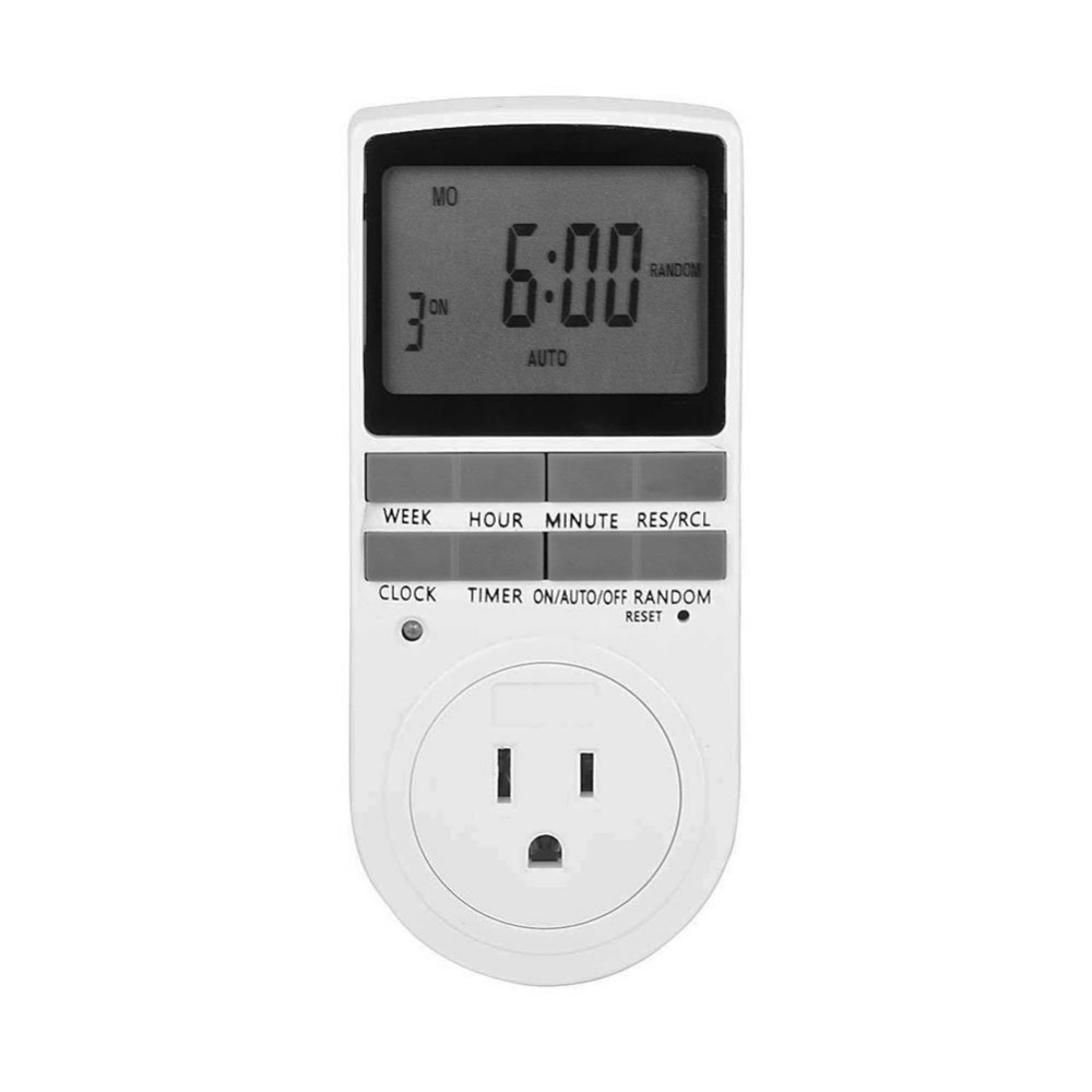 Plug-In Digital Timer Switch with 3-Prong Grounded Outlet, Large LCD Display, 7 Day Programmable intermatic ej500 digital 4 amp astronomic electronic switch 7 day timer 2 pack