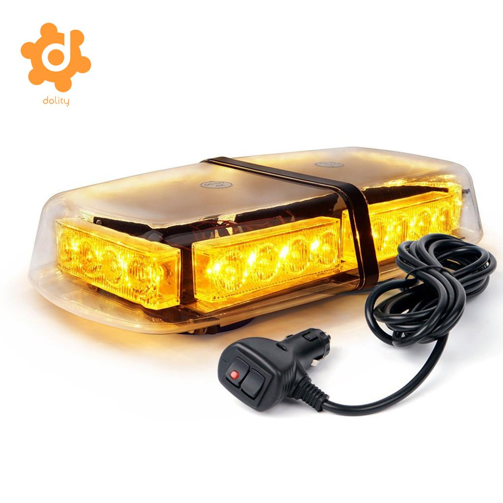 Baoblaze 24LED Car Roof Top Flash Strobe Emergency Warning Light Amber Magnetic Base ...