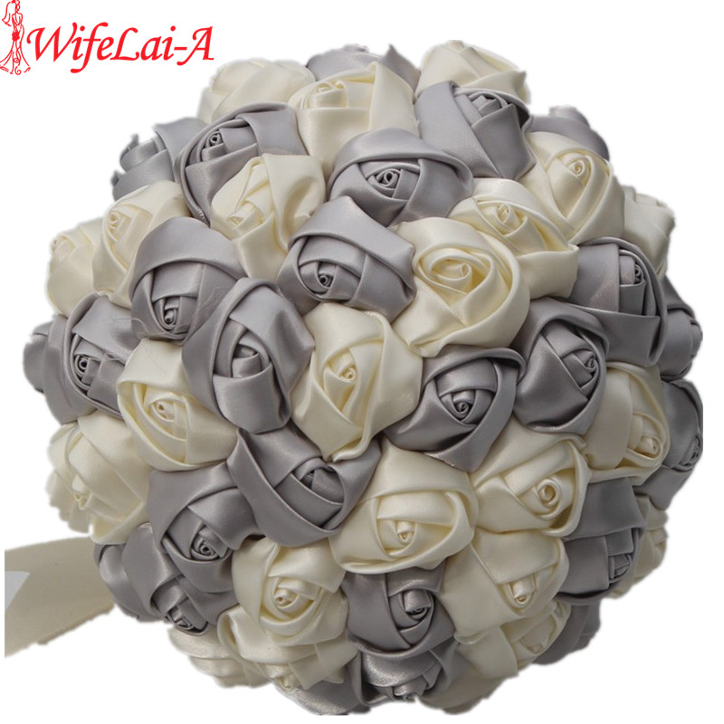 WifeLai A Cheap Simple Silver Ivory Satin Bridal Bouquet Ribbon Bride Wedding Holding Flowers