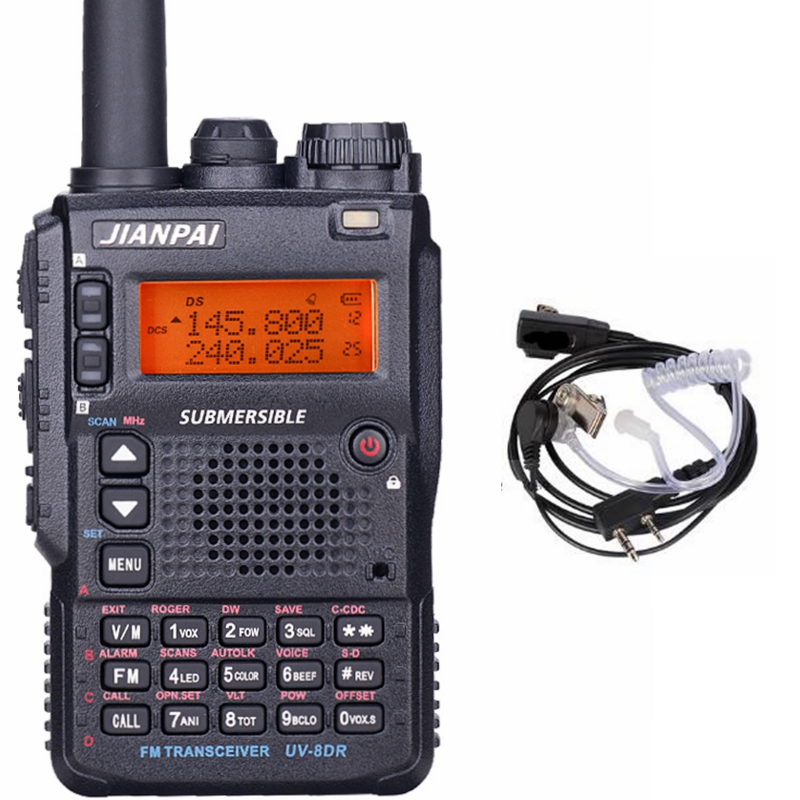 UV 8DR two way radio long distance  136 174/400 520mhz  portable ham CB radio transceiver with headset UV 8DR-in Walkie Talkie from Cellphones & Telecommunications