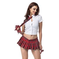 4 Piece Set Sexy Backless White Top And Plaid Pleated Skirt School Girl Costume Halloween Costumes