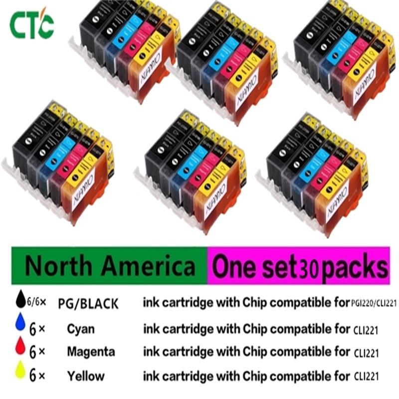 30pcs PGI220 CLI221 compatible ink Cartridge for Canon PIXMA MP980 printer for America version printer PGI-220 CLI-221