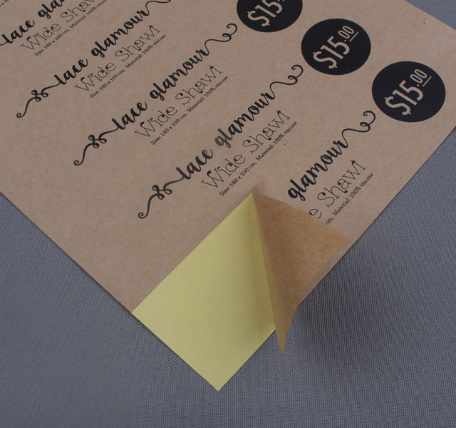 Customized printed kraft paper stickers own logo or brand shipping labels 1000pcs lot