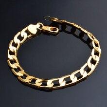 Купить с кэшбэком JEXXI 6/8/10 MM Classic Chain Bracelet 18K Gold Plated Bracelet Cool Men Gold Bracelet Link Wedding Jewellery Pulseira Ouro