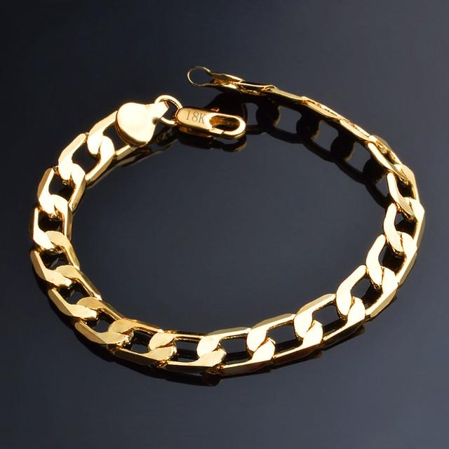 JEXXI 6/8/10/12 MM Classic Chain Bracelet Gold Color Bracelet Cool Men Gold Brac
