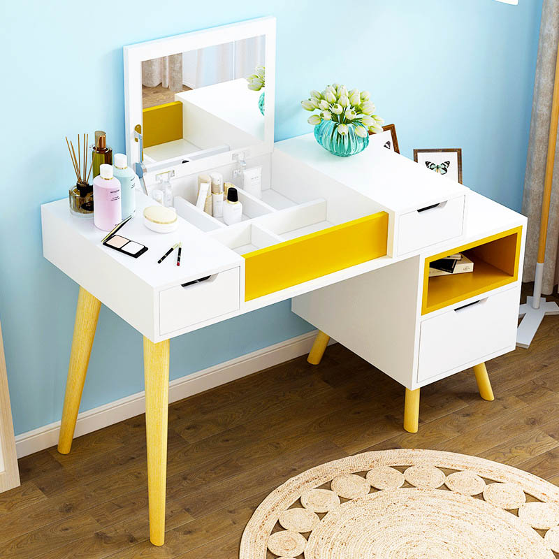 Simple European-style Dresser Small apartment Bedroom multifunctional dresser Telescopic Solid wood legs dresser Home Furniture mini dresser make up tank mirror small dresser