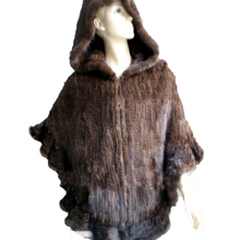 Women's Winter Capes Mink Fur Knitted Zipper Poncho Cloak Hooded Poncho Coat /Wrap/Shawl Brown