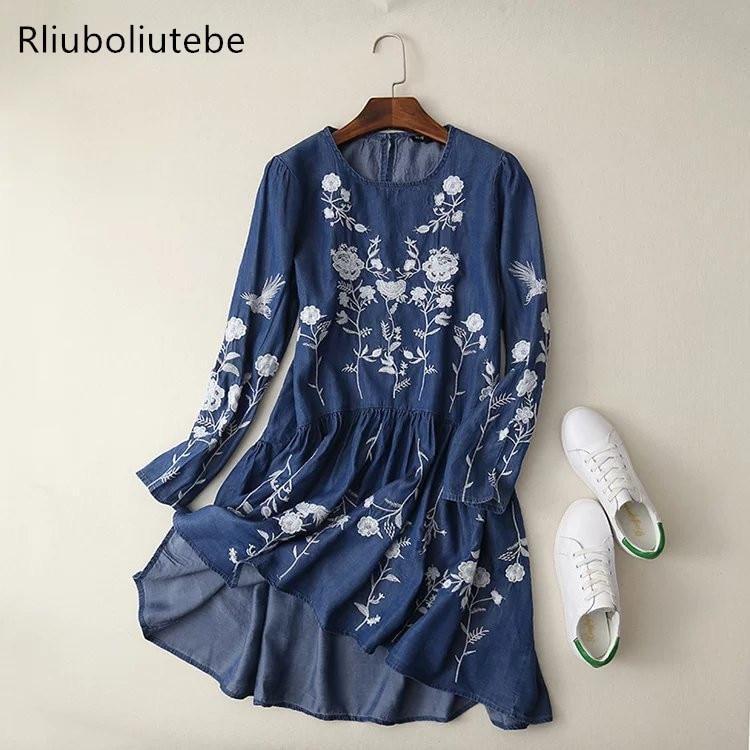Tencel Denim Dress Women Blue Light Blue Floral Embroidered
