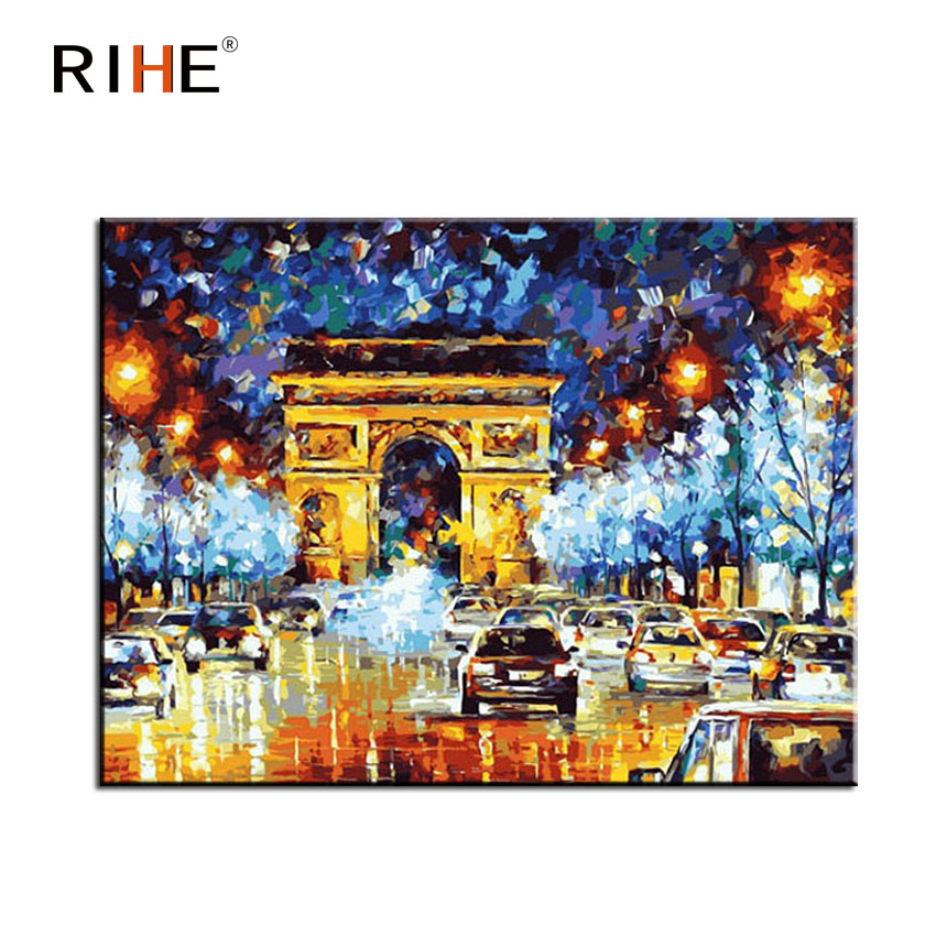 RIHE Triumphal Arch Diy Painting By Numbers Abstract Car Oil Painting On Canvas Cuadros Decoracion Acrylic Wall Picture For Room in Painting Calligraphy from Home Garden