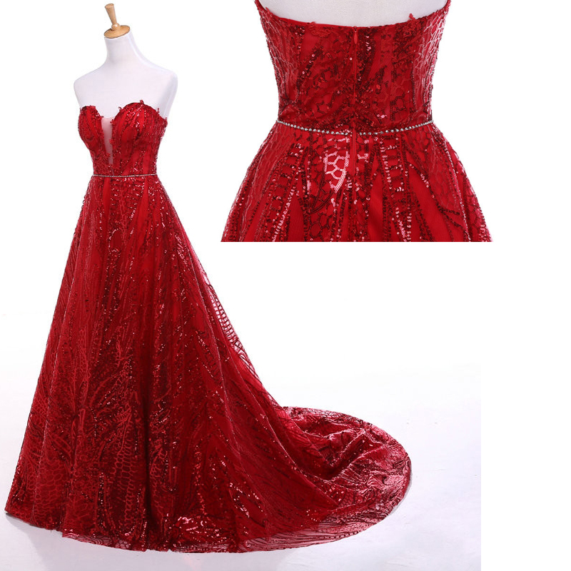 real photo red sequins evening dresses strapless court train plus