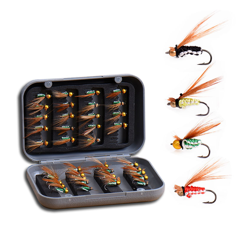 LEO new arrived 40PC/BOX fly fishing lures artificial bait made by high carbon steel barbed fishing hooks set in tackle box 8pcs artificial fishing lures hooks 8 color fishing lures bait with 6 fishing hooks set kit wobblers lifelike high durability c3