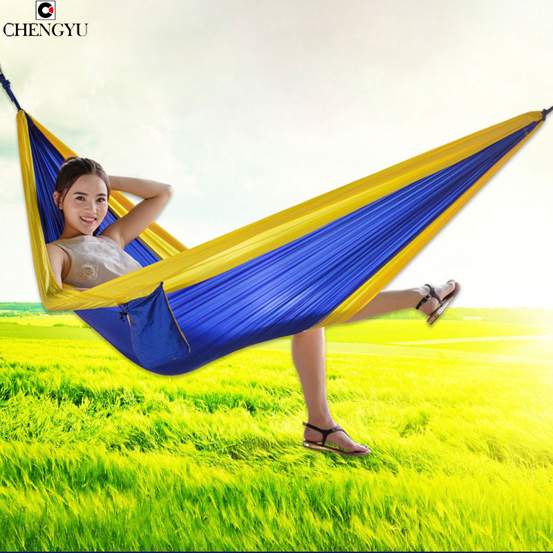 Single-person Hammock Canvas Thicken Camping Indoor and Outdoor Travel Furniture Swing Go to Bed Colorful Easy to Fold Carry go to bed blue