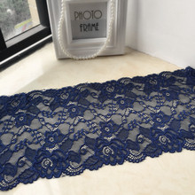 18cm width navy elastic lace trim accessory DIY ribbon lace swiss french lace bridal.headband,garter