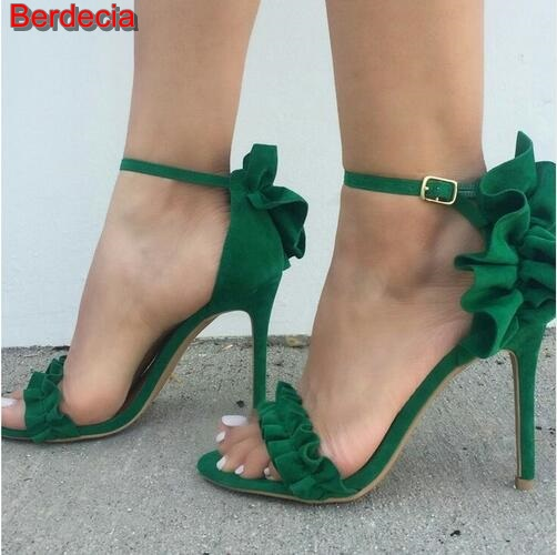 ФОТО Hot Selling Green Suede High Heel Sandal Open toe Ruffles Decorations Ankle Strap Gladiator Sandal 2017 Sexy Sandal