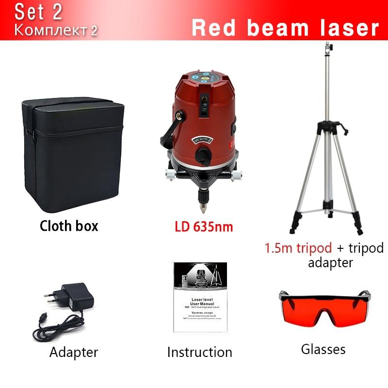 CLUBIONA зеленый и красный луч линии 360 градусов Поворотный наружный режим-приемник и наклон slash доступен автоматический линейный лазерный уровень - Цвет: 05RCN-CR and Tripod