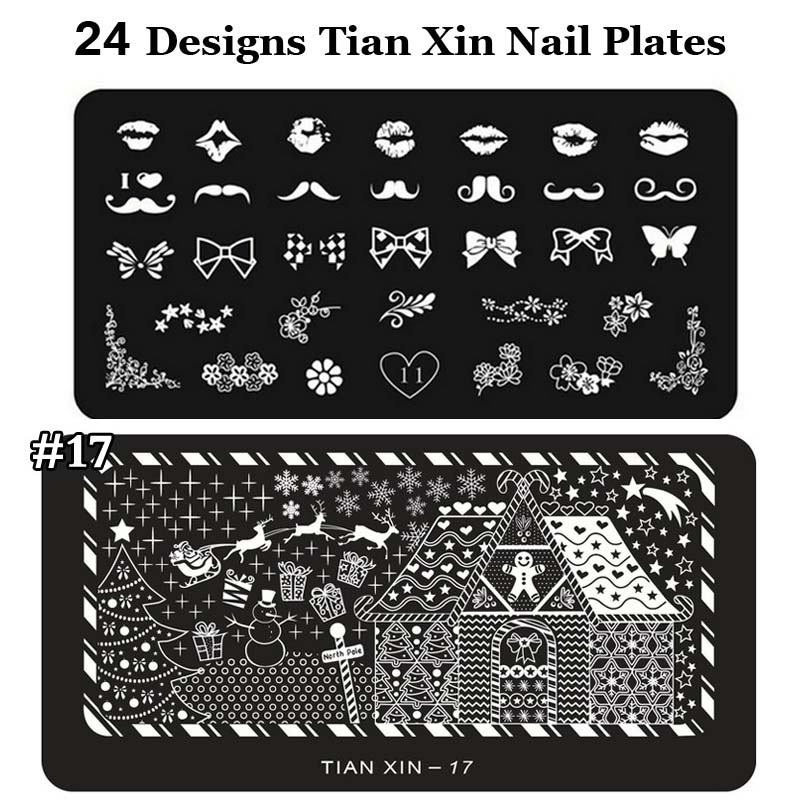 nail art stamping Image plates Nail Polish Print 6*12cm Stainless Steel Nail Template Manicure Stencil Tool 24 Styles For Choose 8 pcs nail art sponges stamping polish template transfer manicure diy tool