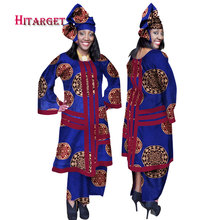 2017 African Women 2 Piece Set Dashiki Cotton Print Wax Crop Top and Skirt with Head Scarf Good Sewing Suits WY170
