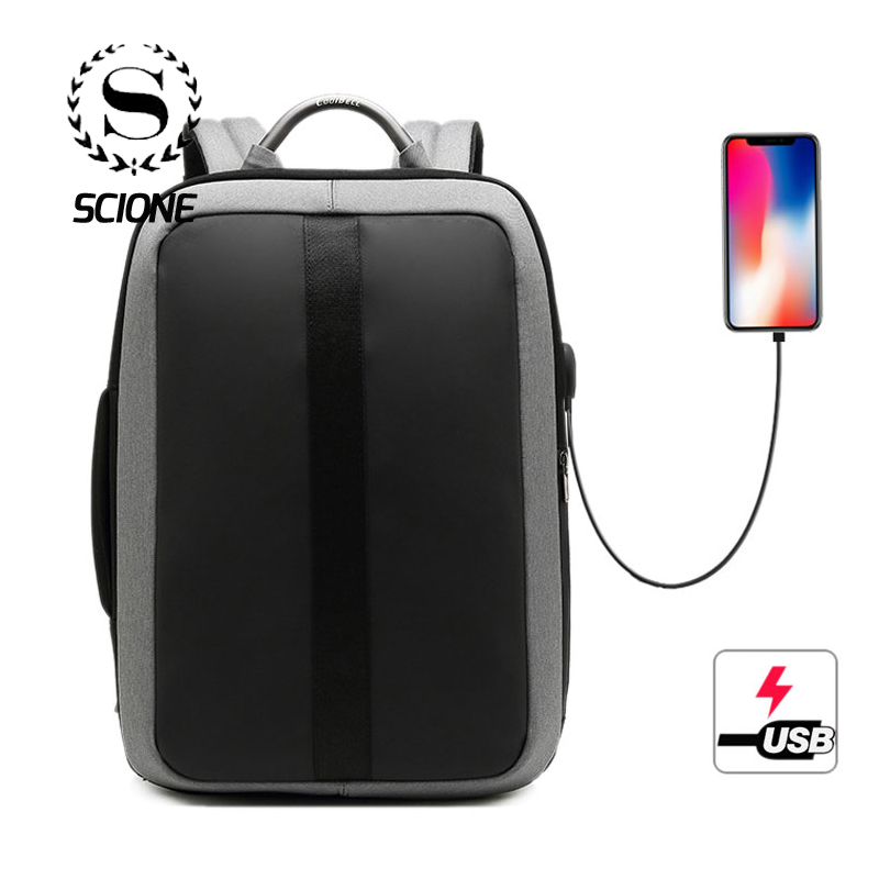 Scione New Arrive Waterproof USB Charging Backpack Travel Business 15.6 Laptop Shoulder Hand Bags Simple Large For Men WomenScione New Arrive Waterproof USB Charging Backpack Travel Business 15.6 Laptop Shoulder Hand Bags Simple Large For Men Women