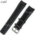 22mm NEW Men Black Diver Curved end Silicone Rubber Watch Bands Strap & Buckle