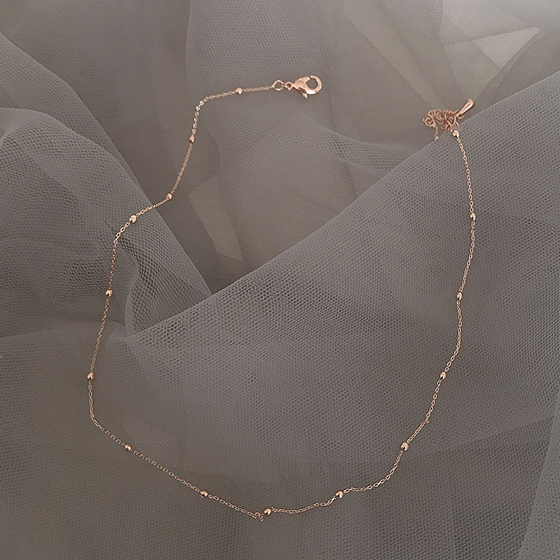 Japan Korean Simple Vintage Rose Gold Coated Interval Beaded Short Choker Necklace for Women Girls Wedding Party Charm Jewelry