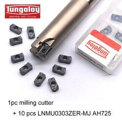 Tungaloy 1pc LNMU03R16D16d150L2T/LNMU03R20D20d150L3T + 10 sztuk LNMU0303ZER MJ AH725 frezarka płyta węglikowa cnc w Uchwyty na narzędzia od Narzędzia na