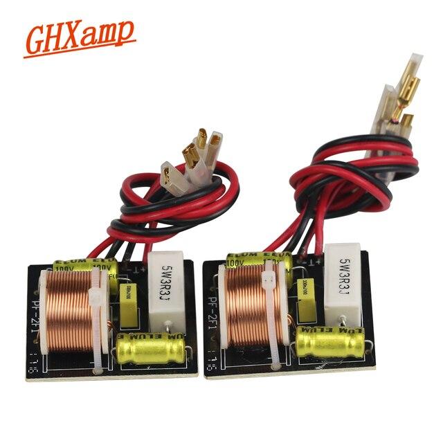 """GHXAMP 50 W 2 voies Crossover Audio haut parleurs de bureau aigus basse fréquence diviseur pour 3 """"pouces haut parleur 4 8OHM 3.3 KHzZ 2 pièces"""