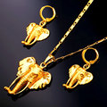 2016 New Elephant African Jewelry Set For Women Vintage Gold Plated Pendant Necklace And Drop Earrings Set PE1926