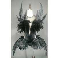 Sexy stage costume for singers female singer dj ds bar nightclub party black Full feather performances costume dance outfit