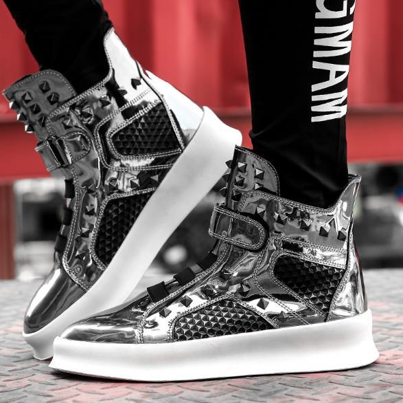 Marca Nueva Hombre Los Cuero Directo Plata Invierno De Hombres Negro  Deporte Negro Zapatillas Lujo Hip Zapatos ... c5bed667632b