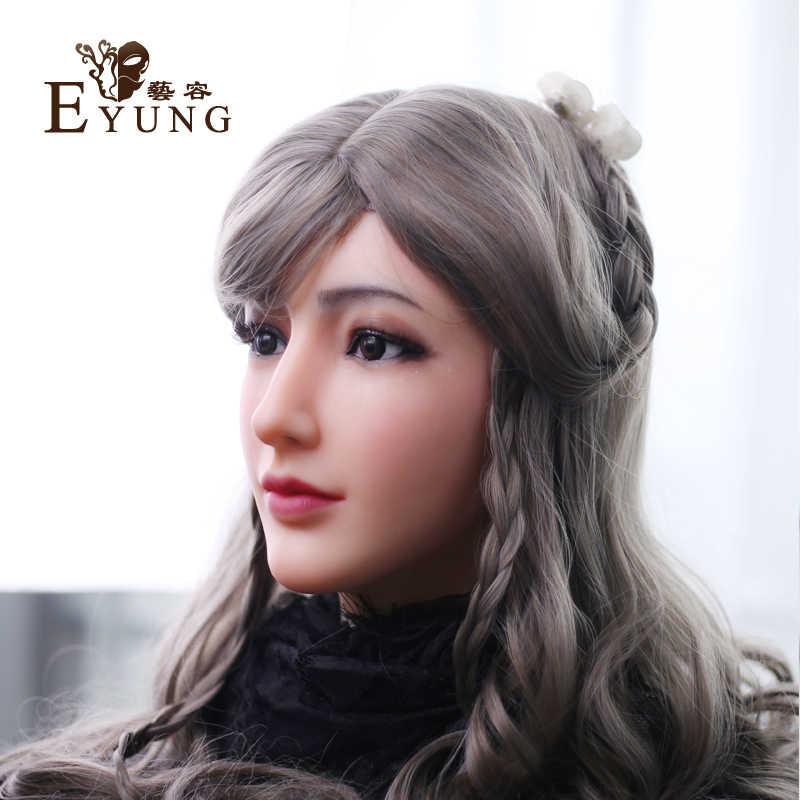 (Alice) Buatan Tangan Crossdress Silikon Penuh Kepala Seksi Wajah Wanita Kigurumi Cosplay Topeng Crossdresser Doll Halloween Pesta Masker