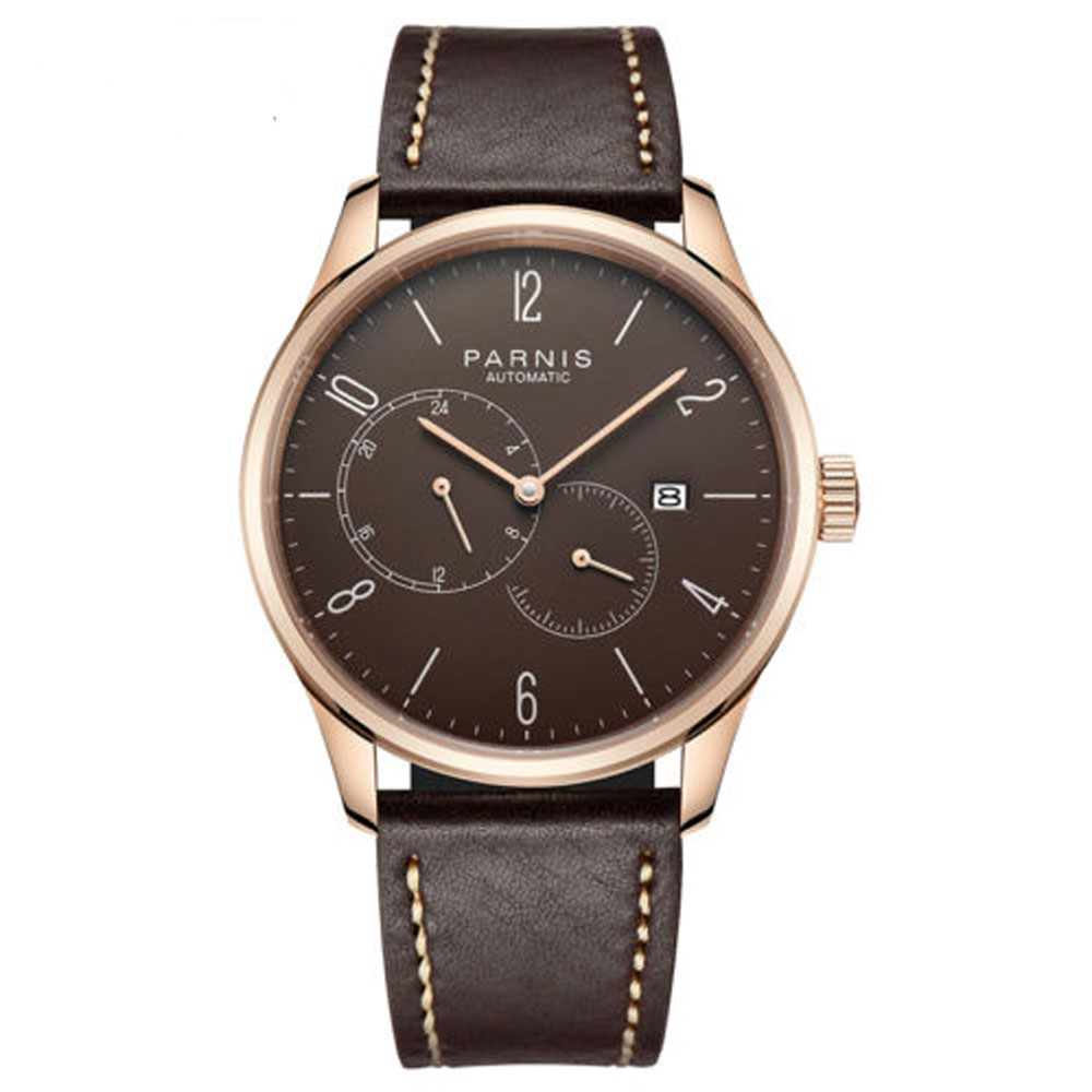 42mm parnis Brown Dial Complete Calendar Stainless steel Rose Golden Case Crystal Miyota Automatic Mechanical Mens Watch42mm parnis Brown Dial Complete Calendar Stainless steel Rose Golden Case Crystal Miyota Automatic Mechanical Mens Watch