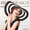 2016 New Brand Folding Black and White Striped Hat Women's Retro Vacation Summer Beach Wide Hat sombrero