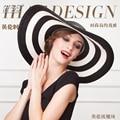 2016 Nueva Marca Plegable Sombrero Retro de la Mujer de Vacaciones de Verano de Rayas Blanco y Negro Playa Ancha Sombrero sombrero