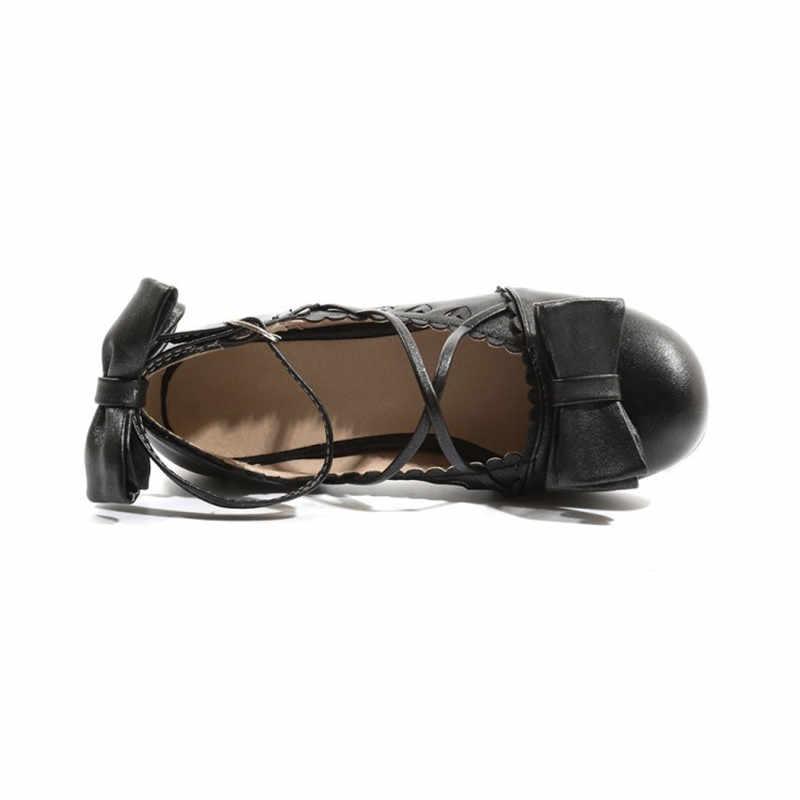 Cosplay Ayakkabı Kadın Yaz 2019 Tatlı Bahar Kadın Pompaları Kore Ayak Bileği Kayışı Harajuku Papyon Prenses Kız Lolita Ayakkabı Artı Boyutu