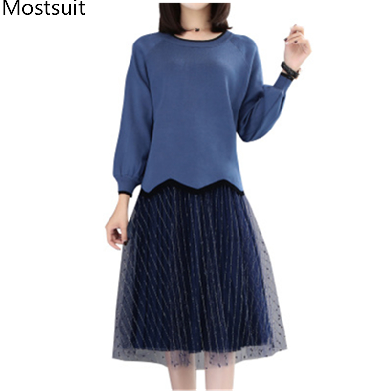 3eebe6e1084a5 Two Piece Set Women Plus Size Knitted Sweater And Gauze Pleated Skirt Sets  Suits Ladies Female Casual Office 2 Piece Sets S-5xl