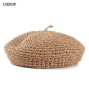 Image 3 - USPOP fashion berets adjustable straw beret women straw hat female breathable solid color summer hats