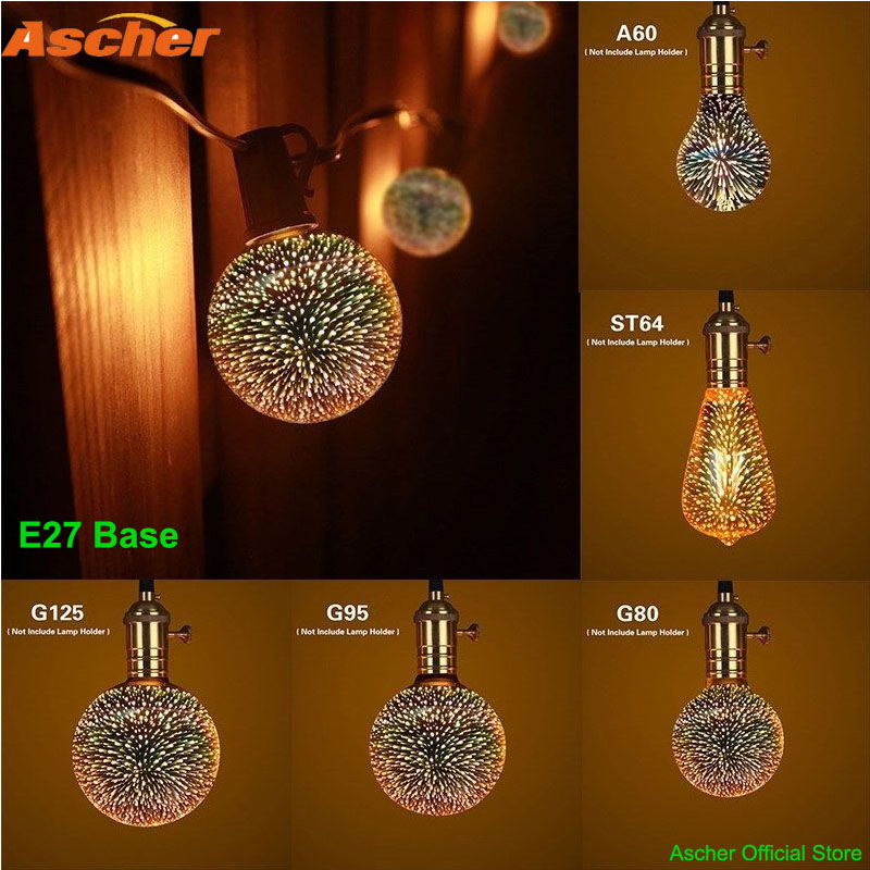 3D Star LED Fireworks Effect Night Light E27 Decorative Edison Bulb G125 G95 G80 ST64 A60 Lamp Party Holiday Christmas Lighting 3d fireworks led bulb light 220v e27 a60 st64 g80 g95 g125 novelty decoration lamp christmas lighting