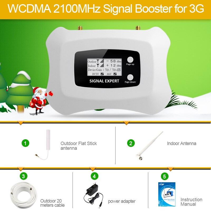 Meilleur Prix! Nouvelle Mise À Niveau Intelligente 2100 mhz Pour 3G mobile signal booster amplificateur mini 3g Répéteur kit avec Écran lcd