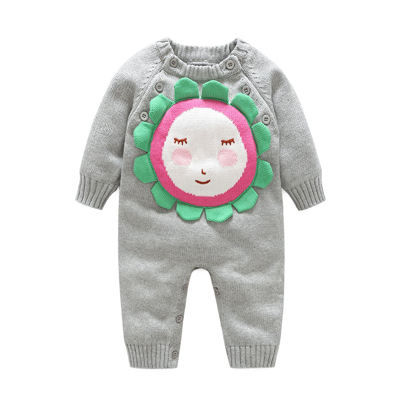 Knitted Cotton Baby Romper For Girls Sun Flower Warm Romper Sweater Long Sleeve O-Neck Boys Jumpsuit Autumn Baby Girls Clothing цена 2017