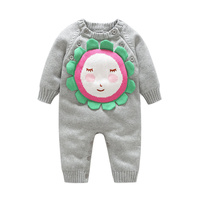 Knitted Cotton Baby Romper For Girls Sun Flower Warm Romper Sweater Long Sleeve O Neck Boys Jumpsuit Autumn Baby Girls Clothing