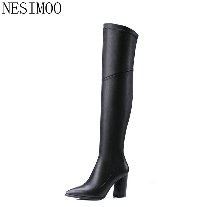 NESIMOO 2018 Black Women Over Knee High Boots High Heel Pointed Toe Cow Leather Stretch Fabric Square Heel Long Shoes Size 34-39